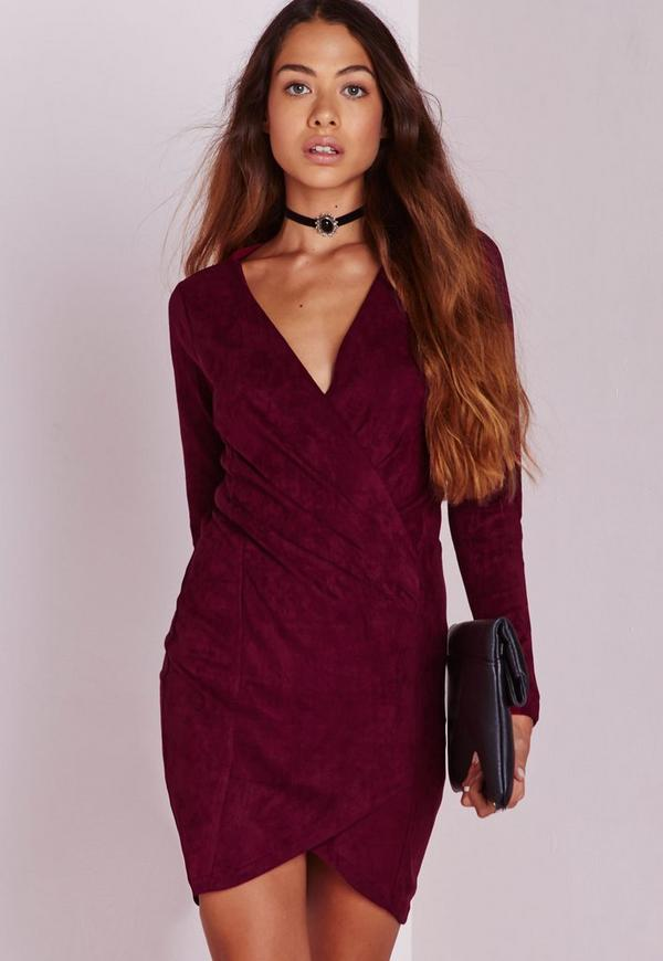 Faux Suede Long Sleeve Wrap Over Dress Burgundy