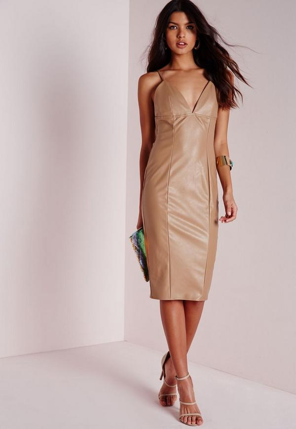 Strappy Faux Leather Midi Dress Taupe