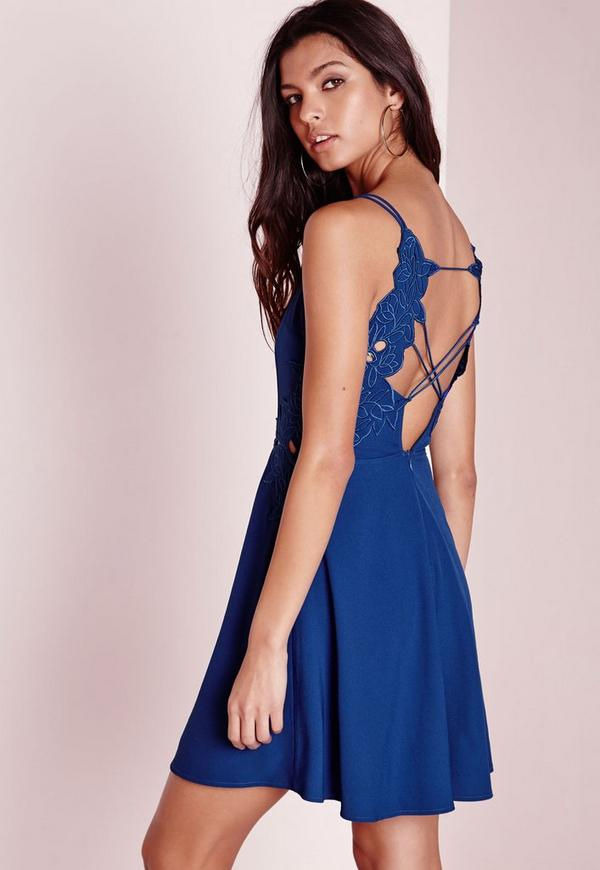 Applique Detail V Plunge Skater Dress Cobalt Blue