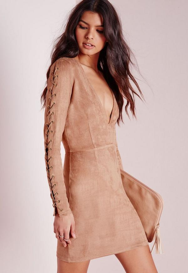 Faux Suede Lace Up Detail Bodycon Dress Tan