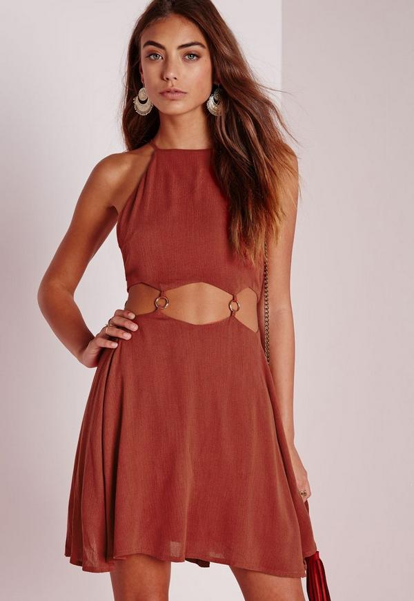 Cut Out Ring Detail Skater Dress Rust