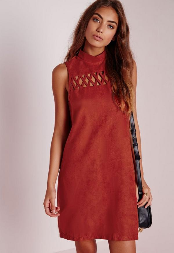 Faux Suede Criss Cross High Neck Shift Dress Rust