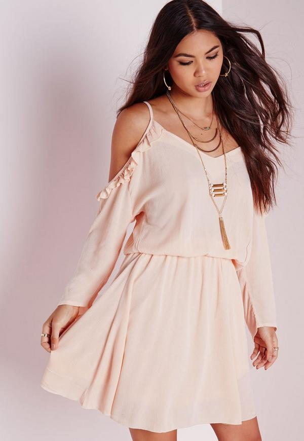Cheesecloth Cold Shoulder Skater Dress Nude