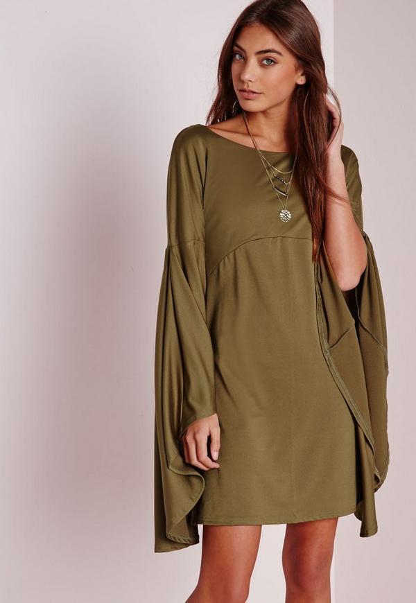 Flared Sleeve Swing Dress Khaki
