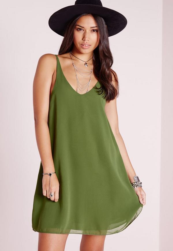 Floaty Cami Dress Khaki