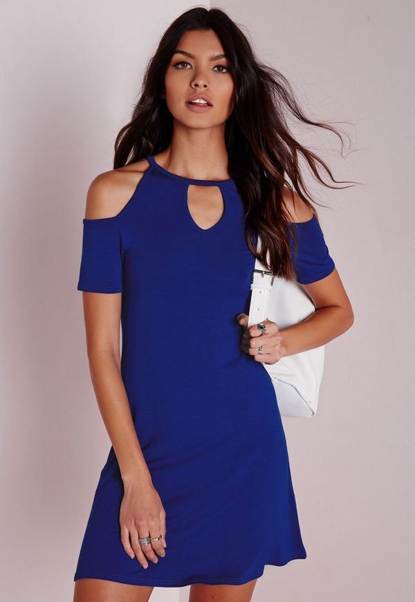Keyhole Cold Shoulder Shift Dress Blue