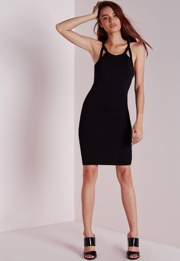 Cut Out Strap Bodycon Dress Black