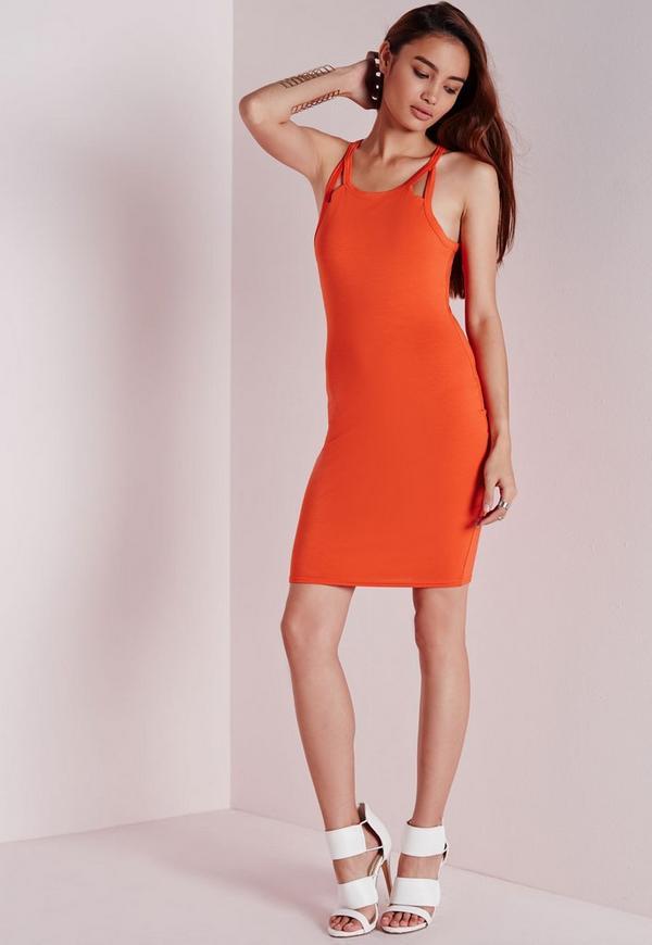 Cut Out Strap Bodycon Dress Orange