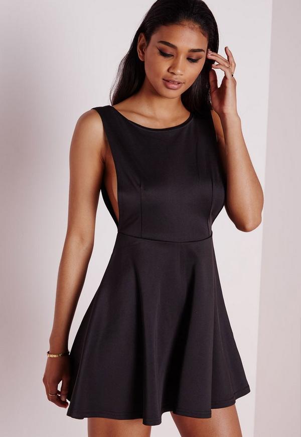 Low Back Skater Dress Black