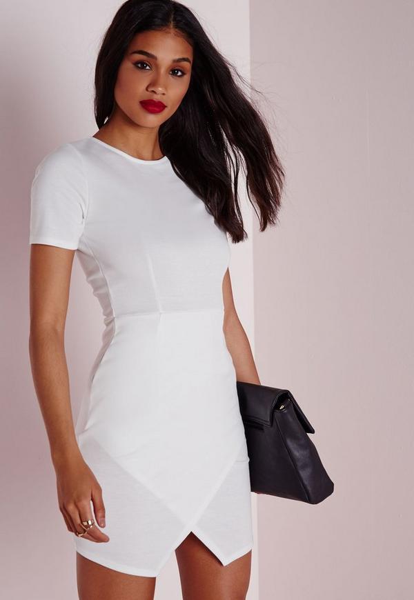 Ponte Wrap Hem Bodycon Dress White