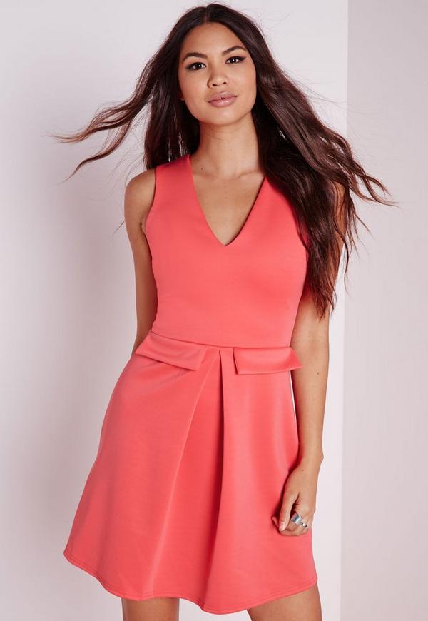 Mock Pocket Plunge Skater Dress Pink