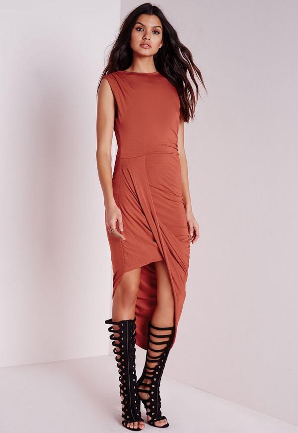 Jersey Wrap Skirt Midi Dress Rust