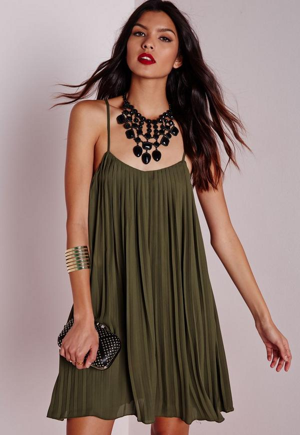 Strappy Chiffon Pleated Swing Dress Khaki