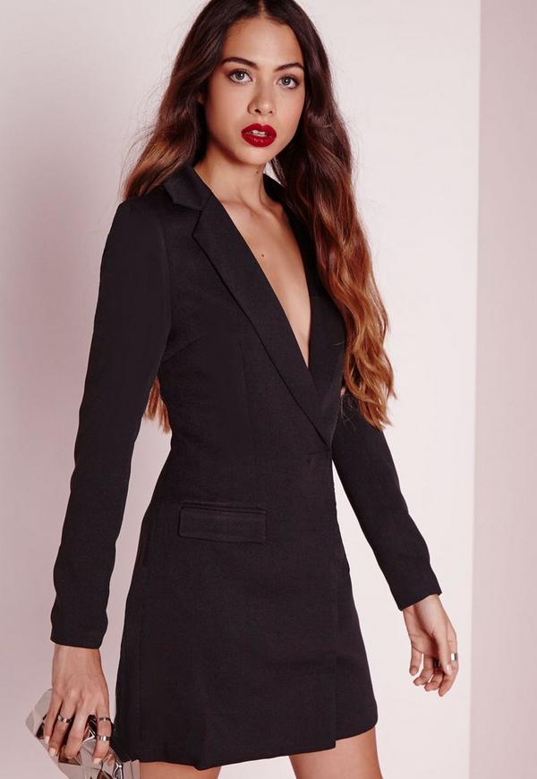 Long Sleeve Blazer Dress Black