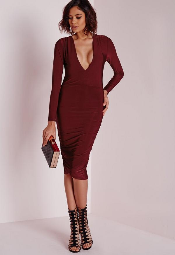 Slinky Plunge Long Sleeve Midi Dress Burgundy