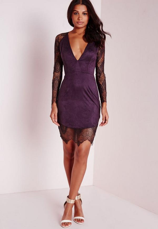 Suede/Lace Bodycon Dress Dark Purple