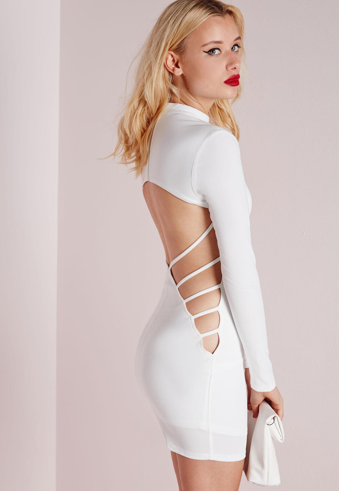 809f0f4c4f Crepe Long Sleeve Back Detail Bodycon Dress White | Missguided Ireland