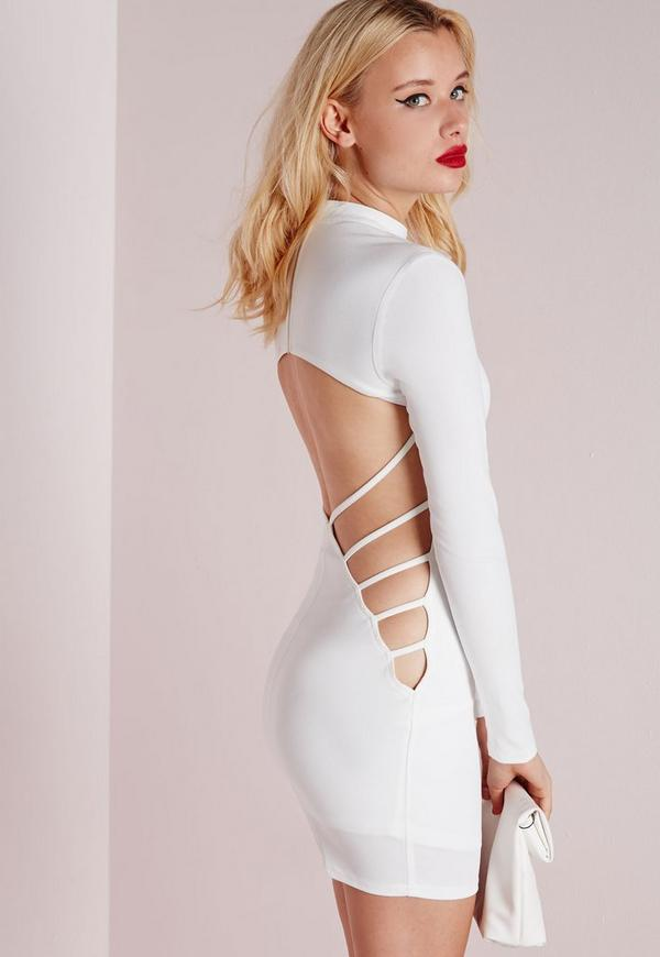 Crepe Long Sleeve Back Detail Bodycon Dress White