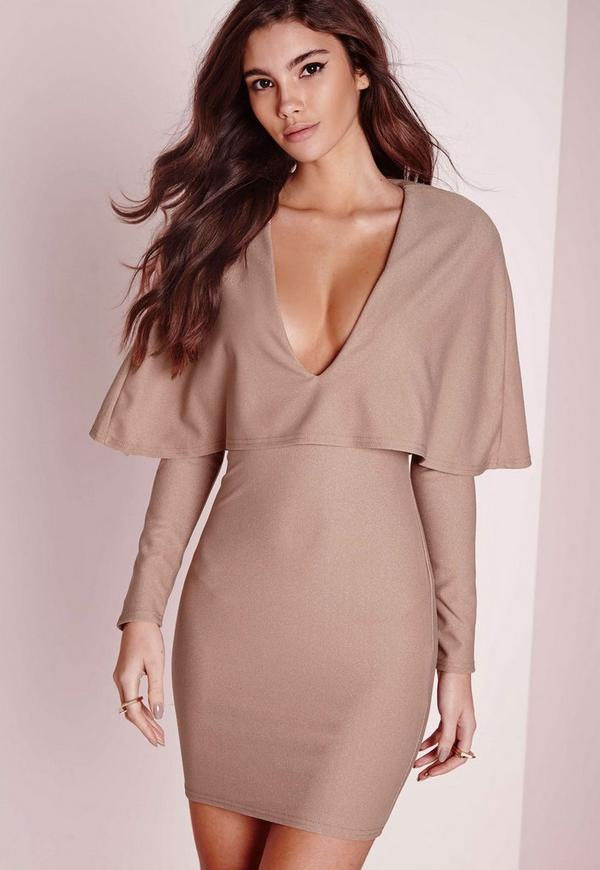 Crepe Long Sleeve Cape Dress Taupe