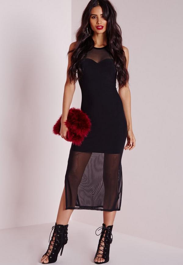 Mesh Layered Midi Dress Black