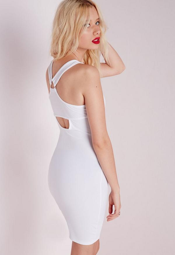 Triangle Strap Bodycon Dress White