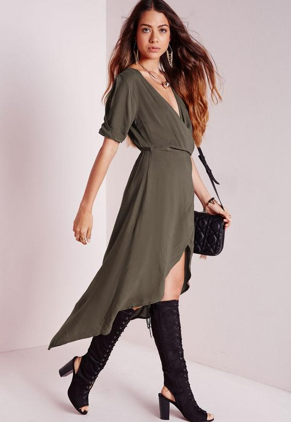 Dipped Hem Wrap Midi Dress Khaki