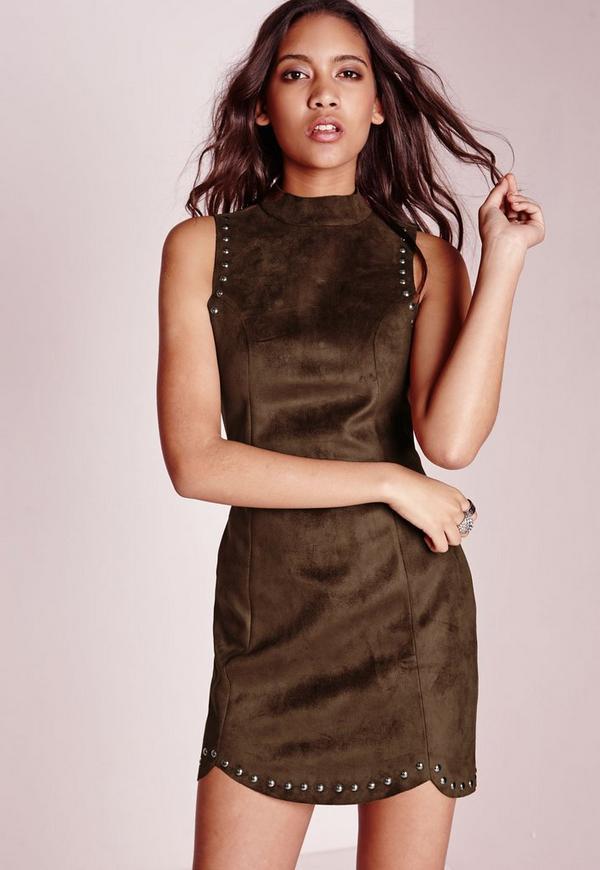 Suedette Stud Detail Shift Dress Brown