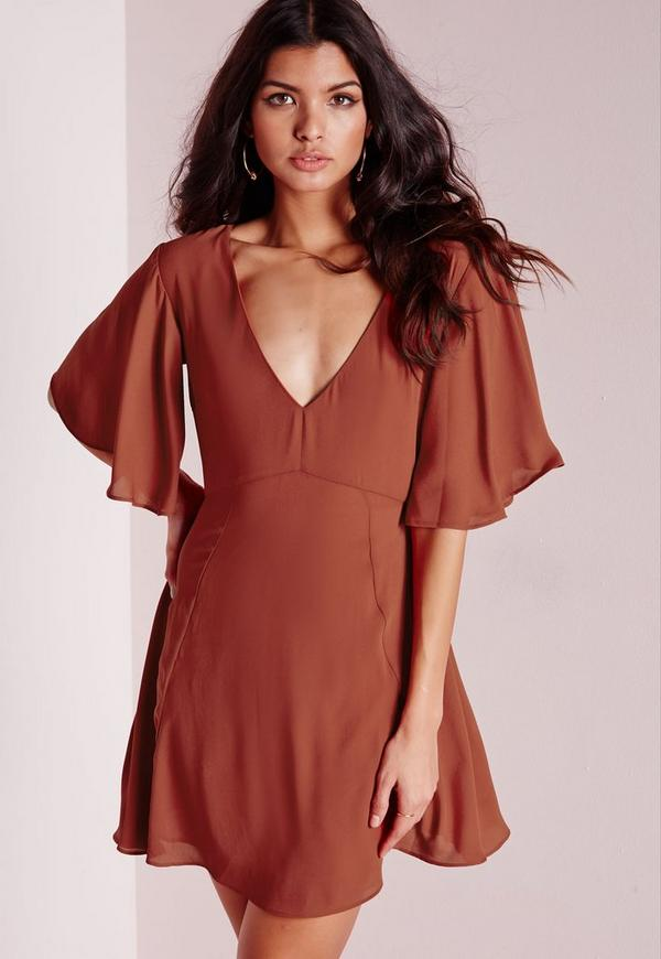 V-Neck Frill Sleeve Skater Dress Rust