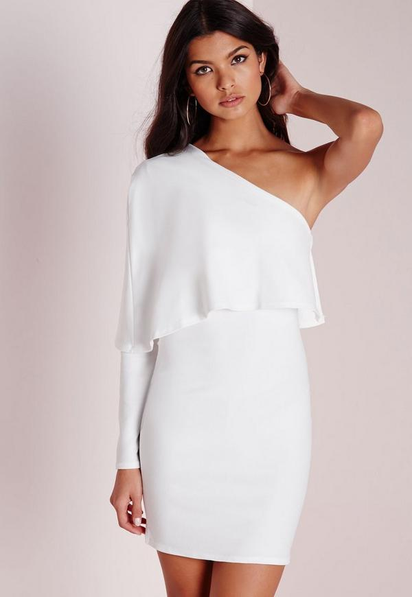 Crepe One Shoulder Cape Dress White