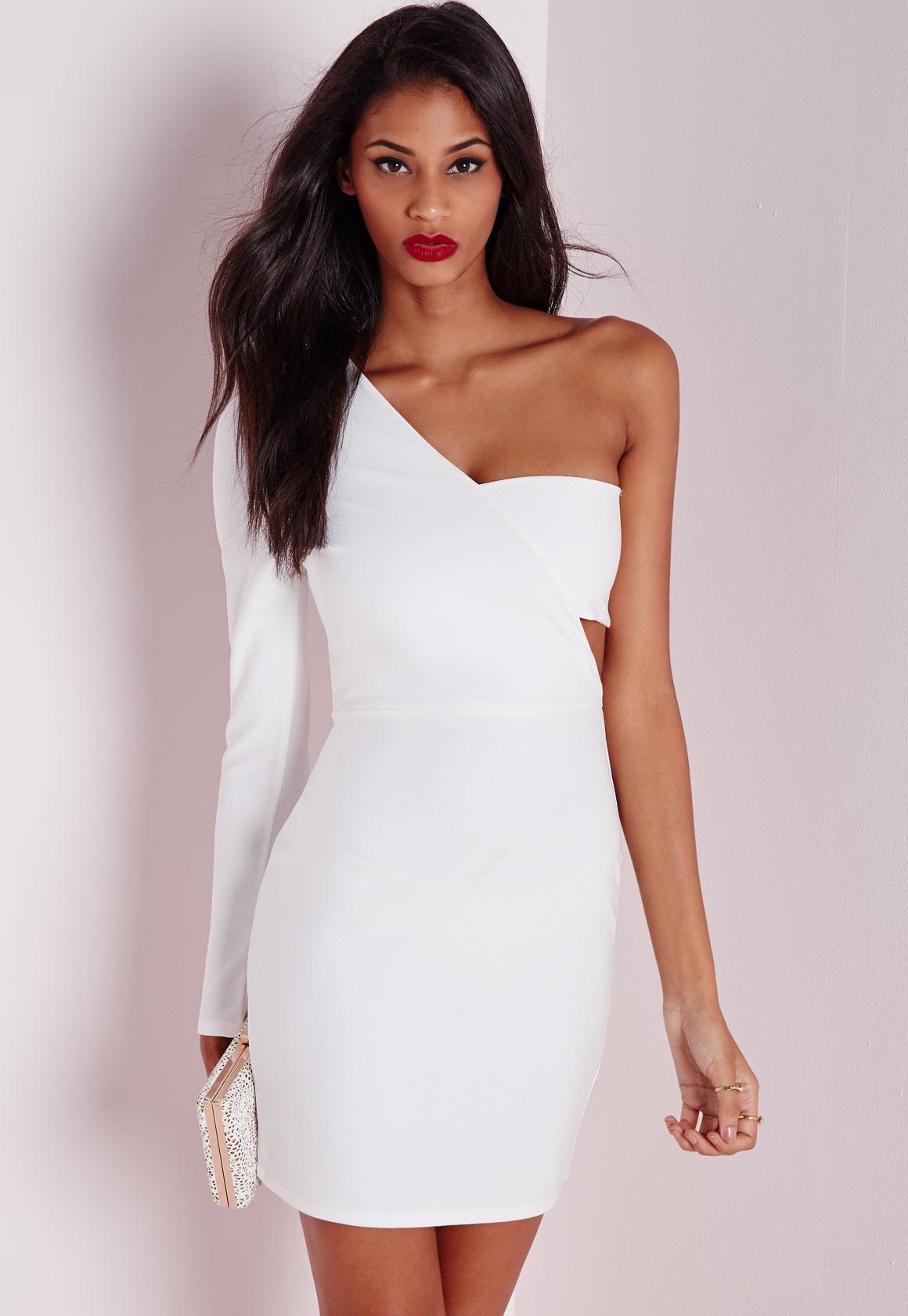 Crepe One Shoulder Bodycon Dress White - Dresses - Bodycon Dresses ...