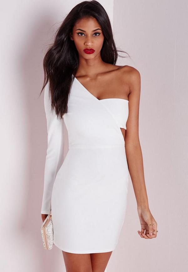 Crepe One Shoulder Bodycon Dress White