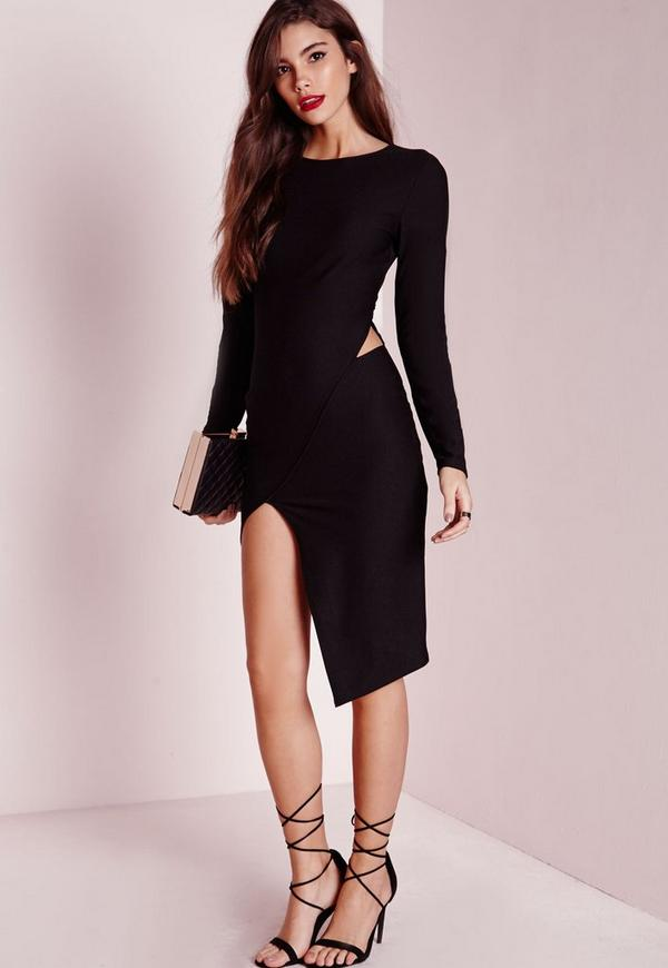 Long Sleeve Asymmetric Hem Bodycon Dress Black