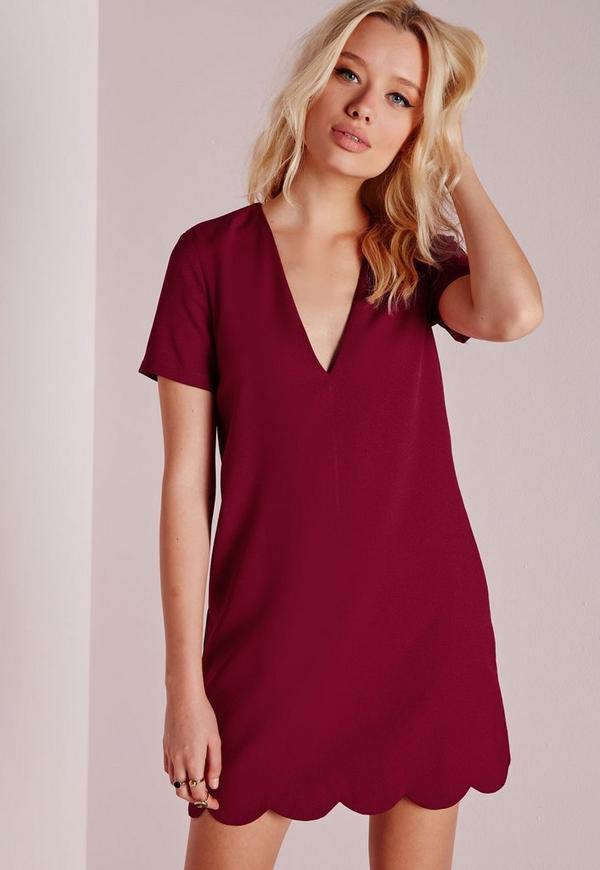 Crepe Cap Sleeve Scallop Hem Shift Dress Burgundy