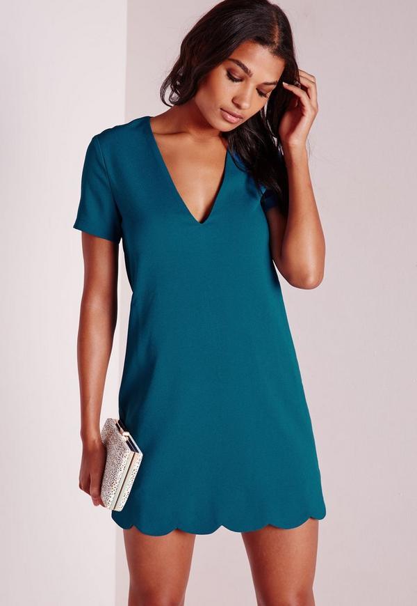 Crepe Cap Sleeve Scallop Hem Shift Dress Teal Blue