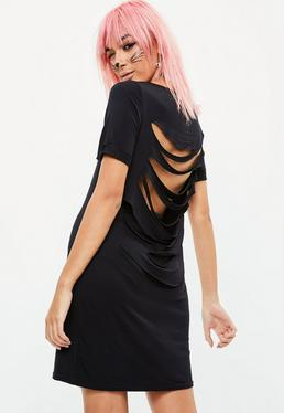 Slashed Back T-Shirt Dress Black