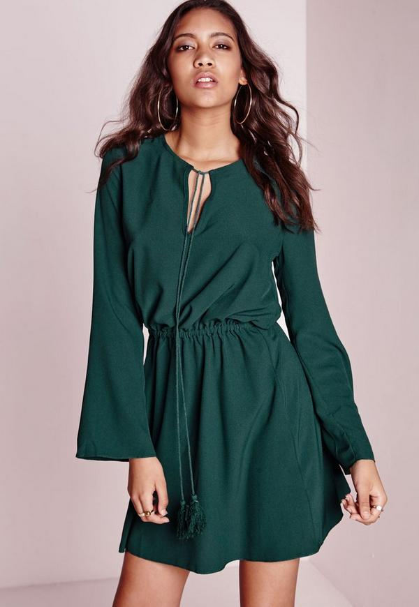 Bell Sleeve Skater Dress Forest Green
