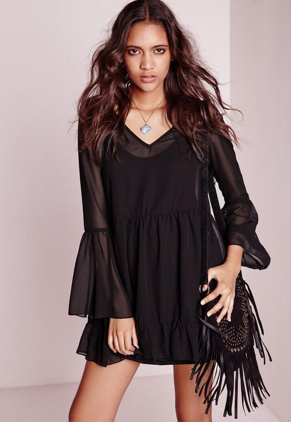 Chiffon Bell Sleeve Swing Dress Black