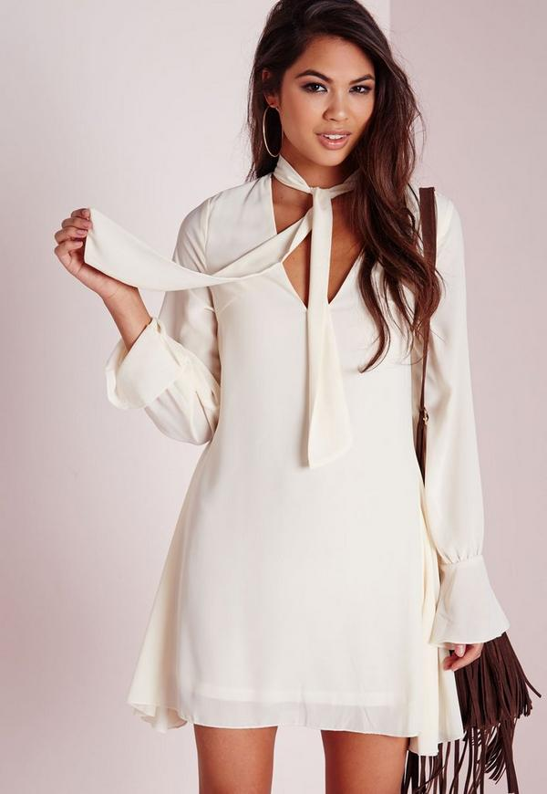 Crepe Pussybow Swing Dress Ivory