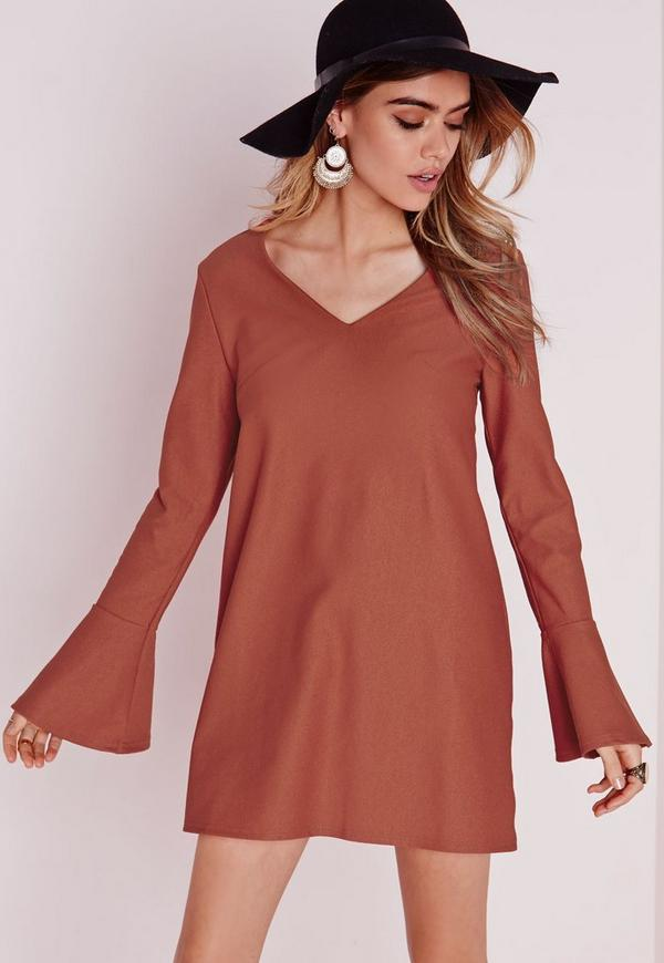 Fluted Sleeve Plunge Shift Dress Rust