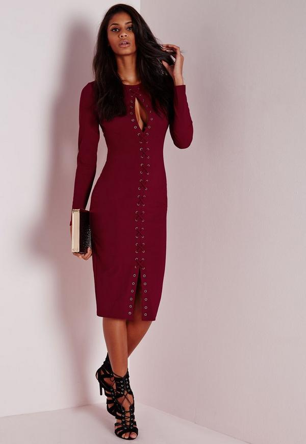 Lace Up Midi Dress Burgundy