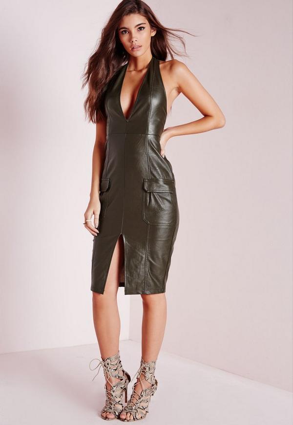 Utility Style Midi Dress Khaki