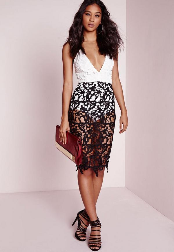 Lace Bodycon Plunge Dress Monochrome