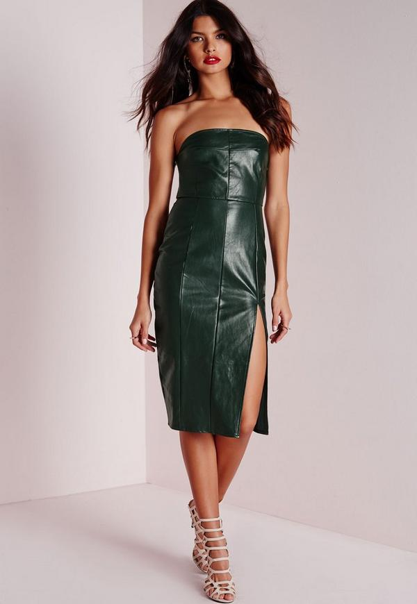 Strapless Midi Dress Forest Green