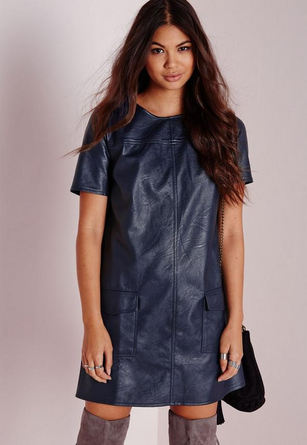 Pocket Detail Faux Leather Shift Dress Navy
