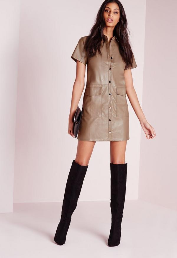 Robe Chemise En Similicuir Couleur Taupe Boutons Argent S Missguided