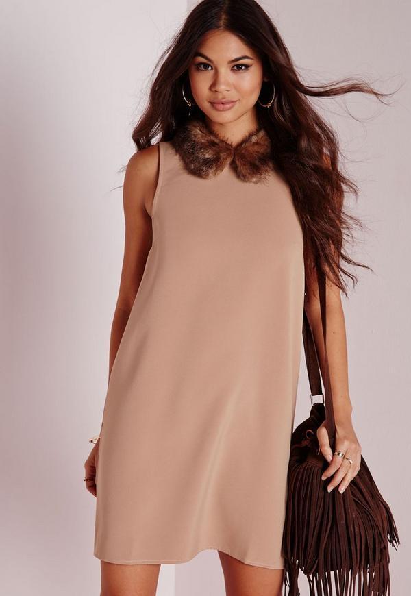 Faux Fur Collar Shift Dress Camel