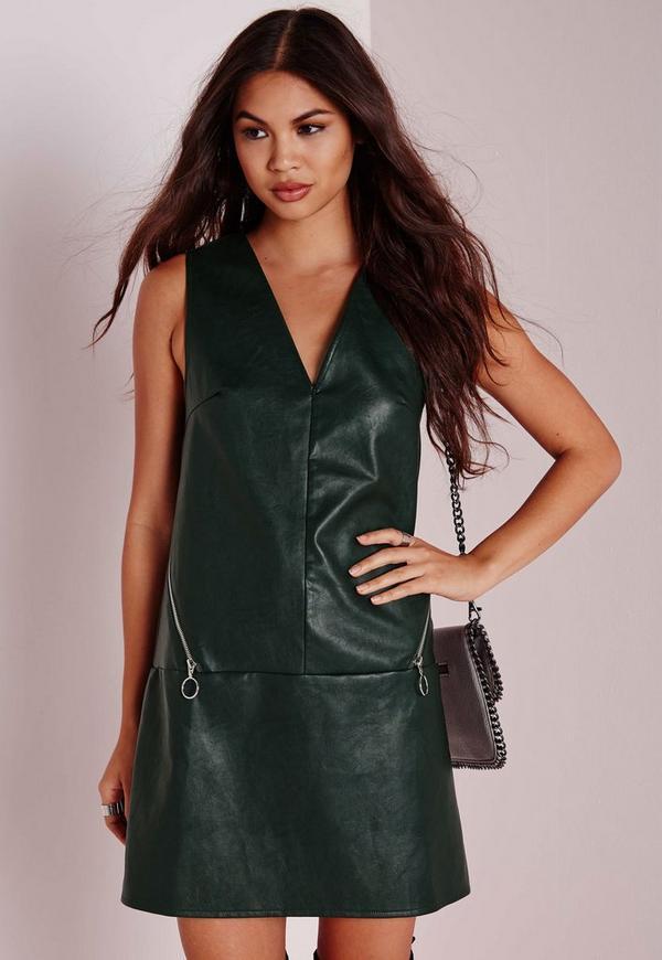 Faux Leather Circle Zip Detail Shift Dress