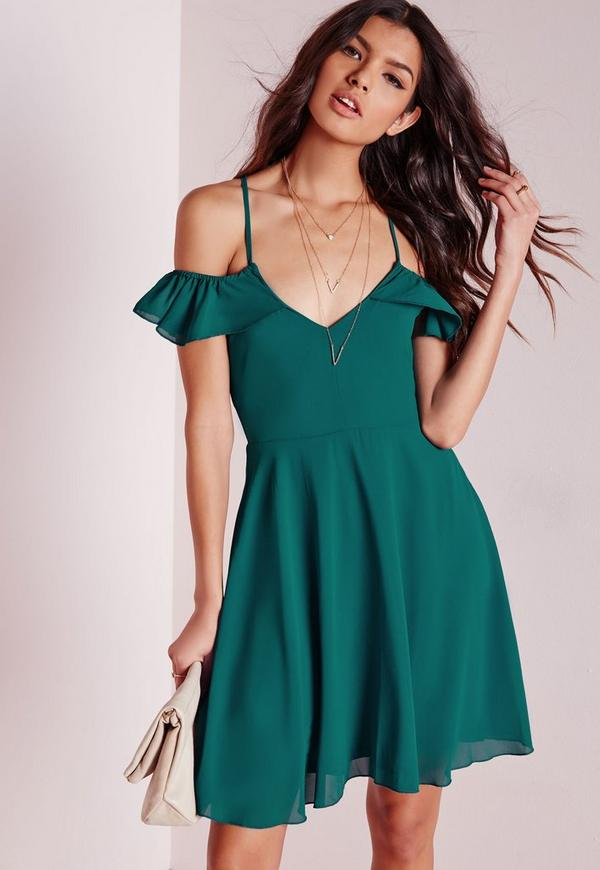 Frill Bardot Skater Dress Teal
