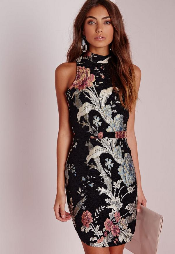 Tapestry Oriental Floral High Neck Mini Dress