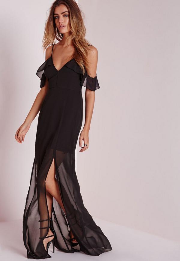 Frill Detail Maxi Dress Black